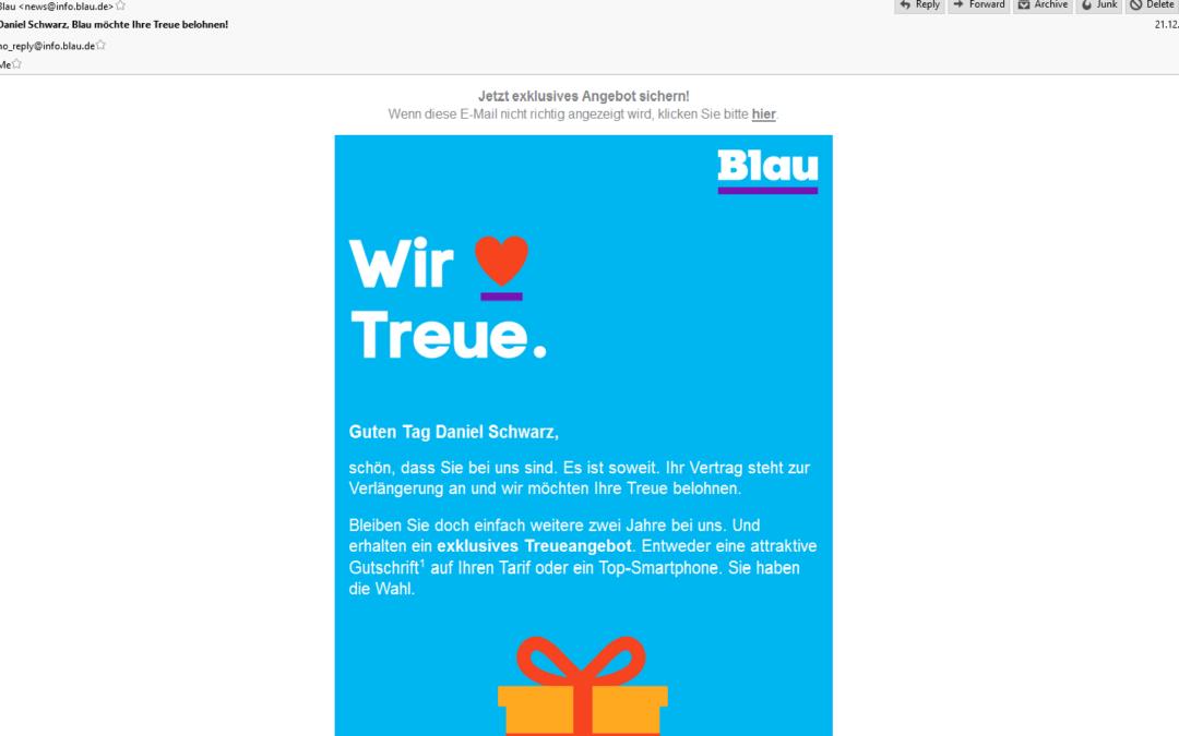 Vertragsverlängerung blau.de